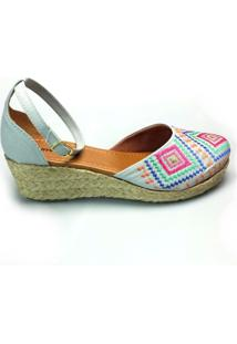 Anabela Love Shoes Espadrille Baixa Bordados Jeans Claro
