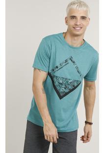 "Camiseta Masculina ""Summer Stories"" Manga Curta Gola Careca Verde"