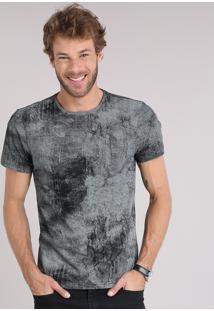 Camiseta Masculina Estampada Manga Curta Gola Careca Preta