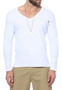 Camiseta Decote V Oitavo Ato M/Longa Branca
