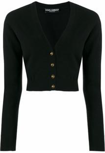 Dolce & Gabbana Cardigan Cropped Decote V - Preto