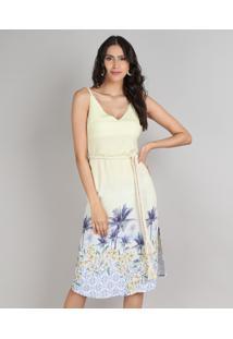 Vestido Feminino Midi Estampado Tropical Com Fenda E Cordão Alças Finas Amarelo