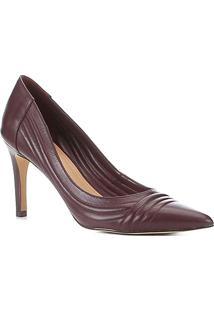 Scarpin Couro Shoestock Salto Alto Matelassê - Feminino-Vinho