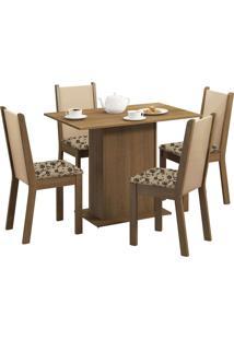 Sala De Jantar Madesa Caren E 4 Cadeiras Marrom