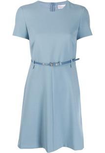 Red Valentino Vestido Mini Com Cinto - Azul