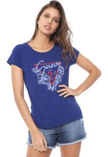 Blusa Guess Flores Logo Azul - Kanui