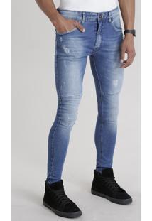Calça Jeans Super Skinny Com Algodão + Sustentável Azul Médio