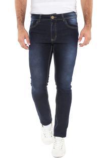 Calça Jeans Mr Kitsch Slim Pespontos Azul