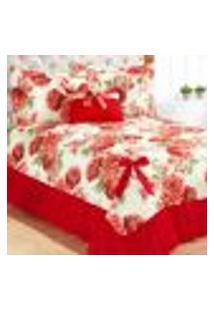 Kit Cobre Leito Casal Vermelho Floral 5 Peças Com Almofada Decoração