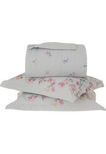 Conjunto De Colcha Florata Casal- Branco & Rosa Escuro