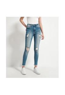 Calça Skinny Push Up Jeans Com Puídos E Barra Desfiada   Blue Steel   Azul   40