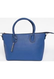 Bolsa Texturizada Com Bag Charm- Azul- 24X38X14Cm