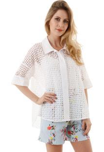 Camisa Aha Laise Com Detalhe De Tricoline Branco