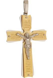 Pingente Crucifixo Grande Tudo Jóias De Aço Inox Dourado