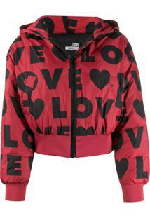 Love Moschino Jaqueta Matelassê Com Estampa De Logo - Vermelho