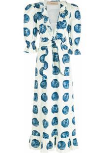 Adriana Degreas Vestido Longo Mangas Bufantes - Azul