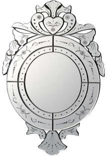 Espelho Veneziano- Pashmina- Redondo- Branco - Kanui