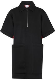 Burberry Vestido Bicolor De Neopreno - Preto