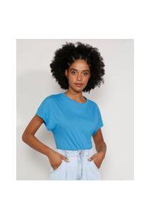 Camiseta Feminina Básica Manga Curta Muscle Tee Com Recorte Decote Redondo Azul