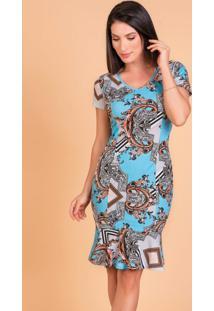 Vestido Arabescos Moda Evangélica Com Babado