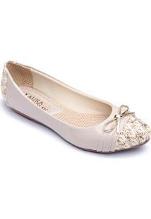 Sapatilha Top Franca Shoes Verniz Feminina - Feminino-Bege