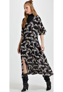 Vestido De Georgette Estampado Pesado Midi Com Decote V E Fendas Est Onça Yunes Preto P
