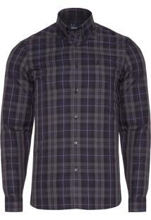 Camisa Masculina Contrast Stripe Tartan - Cinza