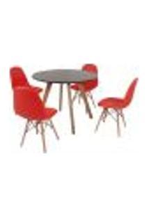 Mesa Inês 100Cm Preta + 4 Cadeiras Eiffel Botonê - Vermelha