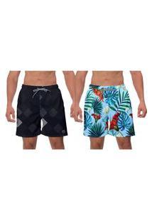 Kit 2 Shorts Moda Preto Azul Primavera Samambaia Flora Piscina Academia Estilo Banho W2