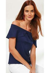 Blusa Azul Escuro Ombro A Ombro Canelada Malwee