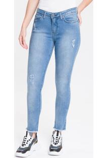 Calça Jeans Five Pockets Mid Rise Skinny - Azul Claro - 44