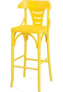 Banqueta Para Bancada Moderna Alta - Laca Amarela - Augustine 39X41X105 Cm