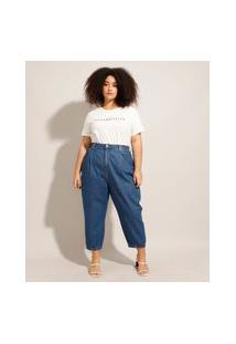 Calça Baggy Jeans Plus Size Com Pregas Cintura Super Alta Azul Médio
