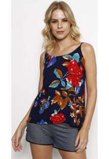 Blusa Com Fendas - Azul Marinho & Vermelha- Linho Filinho Fino