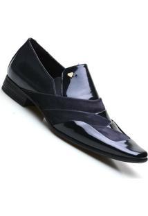 Sapato Social Calvest Em Couro Verniz Marinho Detalhe Em Camurça - Masculino-Marinho
