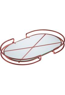 Bandeja Organizadora Oval De Aço Cobre Base De Vidro Forma