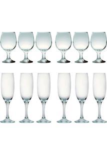 Kit 6 Taças Para Vinho Tinto 245 Ml E 6 Taças Champanhe 190Ml Sture Móveis - Kanui