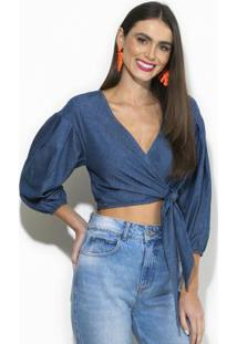 Blusa Cropped Jeans Azul