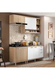 Cozinha Compacta Sem Tampo 4 Peças 5810-S6 Sicília - Multimóveis - Argila Acetinado / Branco Acetinado
