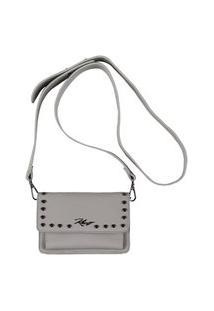 Bolsas & Mochilas Khelf Bolsa Pequena Estruturada Rebites Alça Longa Off-White
