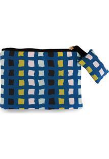 Clutch Nita Faco Quadradinhos Azul - Kanui