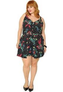 Short Plus Size Poá Com Flores - Feminino-Preto