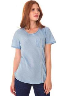 Blusa Jeans Express Cora Feminina - Feminino-Azul