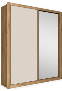 Armário Enzo Ii 02 Portas De Correr, Sendo 01 C/ Espelho, Padrao - Amêndoa / Off White