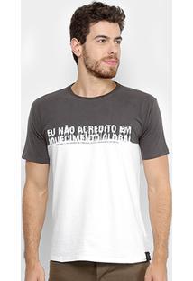 Camiseta Reserva Aquecimento Global Masculina - Masculino-Chumbo+Branco