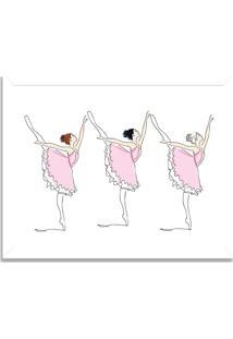 Quadro Decorativo Infantil Bailarinas Em Arabesque Branco - Médio