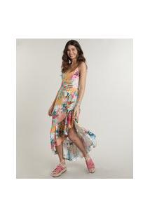 Vestido Feminino Midi Assimétrico Estampado Ilha Alças Finas Laranja Claro