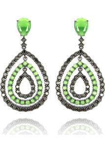 Brinco Levitha Semijoias Gotas Vazadas Verde Esmeralda - Banho Negro