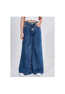 Calça Wide Leg Em Jeans Escuro