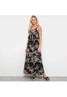 Vestido Péola Longo Alça Corino Floral - Feminino-Preto+Vermelho